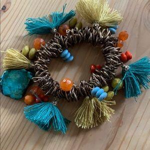 Turquoise Tassel Charm Bracelet